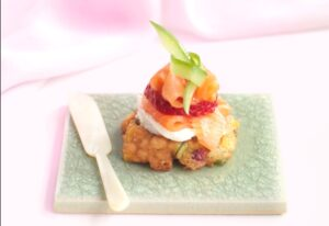Regal Smoked Salmon with Strawberries and Corn Fritters