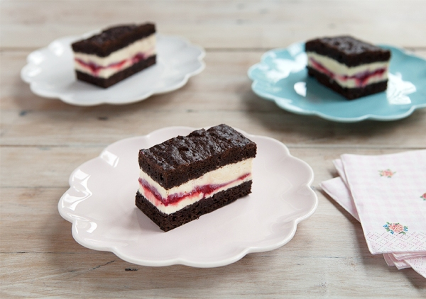 Chocolate brownie and raspberry icecream sandwich