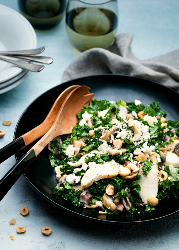 Warm Chicken, Kale and Hazelnut Salad