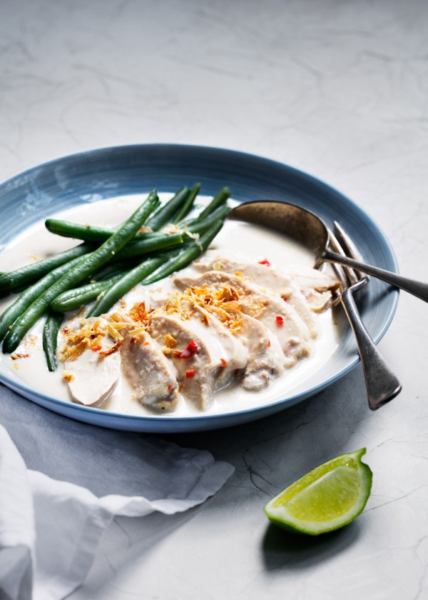 Chicken coconut  lime broth