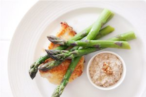 Foodlovers website, Helen Jackson. Fish with asparagus and tarator sauce, Photos by Carolyn Robertson