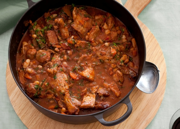 Helen Jackson Book ? Feeding a Crowd, Pork and Duck Cassoulet. Photography by Carolyn Robertson, Think Photography 2010.