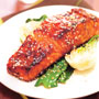 Sizzling Salmon with Steamed Pak Choi