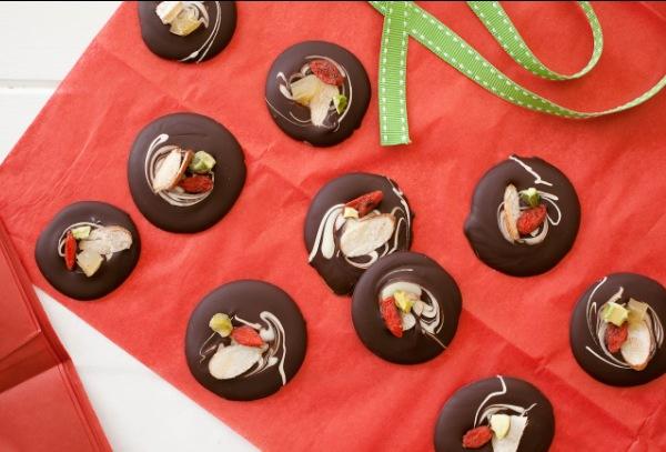 Foodlovers website, Helen Jackson. Recipes. Fruit and nut chocolates. Photos by Carolyn Robertson