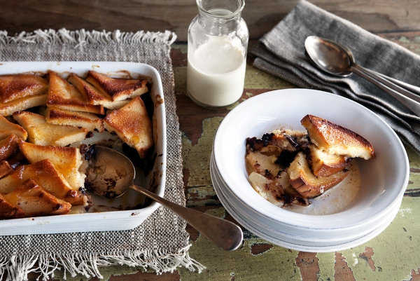 Bread and butter pudding, pear, choc