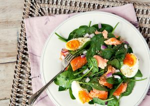 salmon and dukkah salad